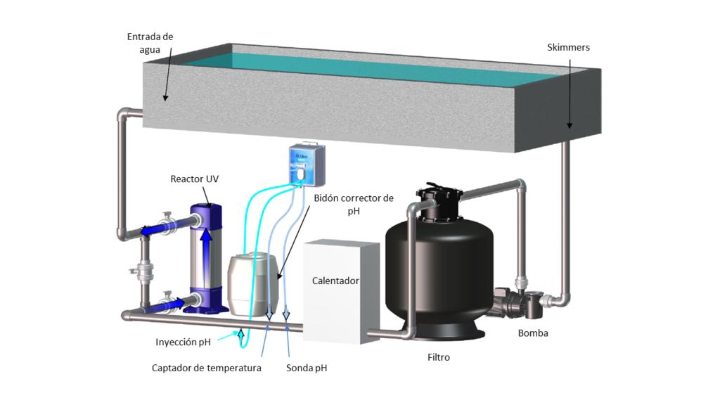 Sistema de desinfección para piscinas O'CLEAR _ Diagrama de instalación
